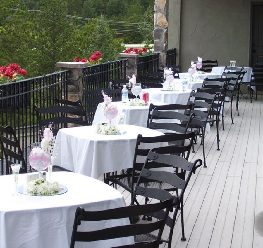 One formal outdoor dining option is depicted here.