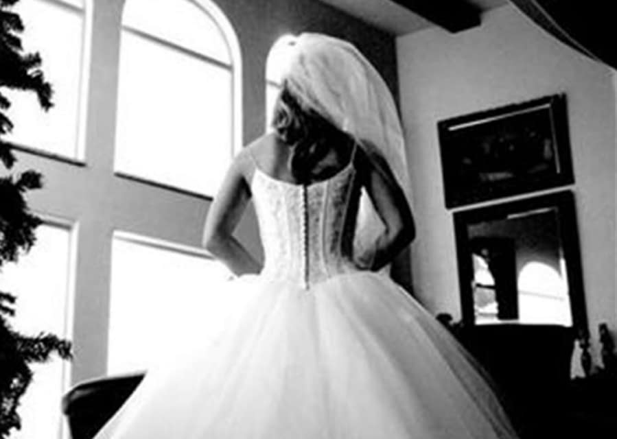 The bride on her wedding day.