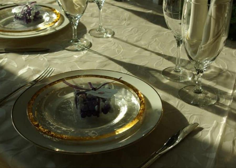 A formal dining arrangement.